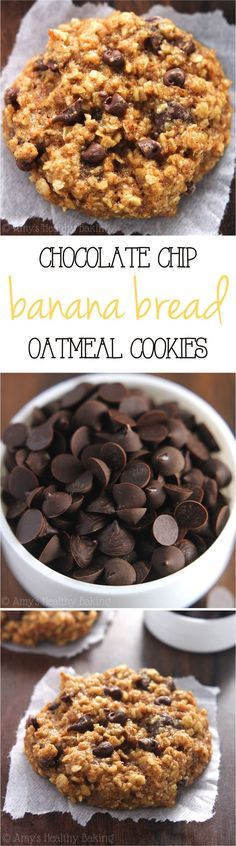 Clean-Eating Chocolate Chip Banana Bread Oatmeal Cookies -- these skinny cookies don't taste healthy at all! You'll never need another oatmeal cookie recipe again!