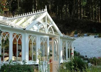 conservatory with gothic window bars in cornwall