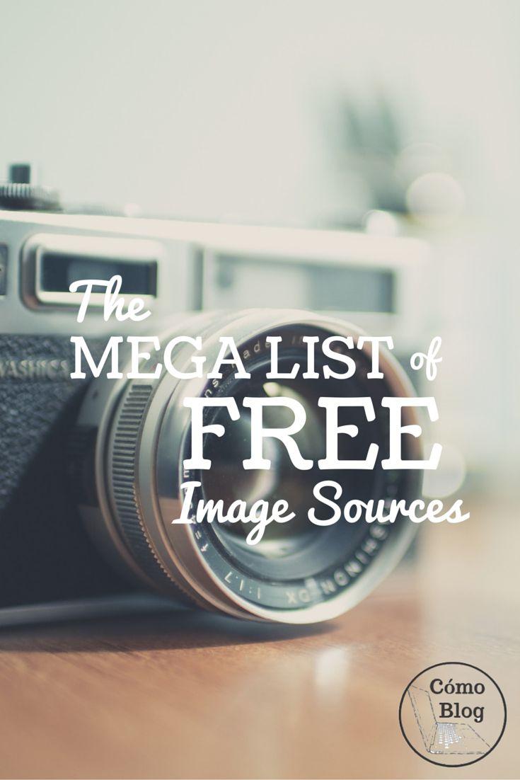The mega list of FREE image sources via comoblog.com