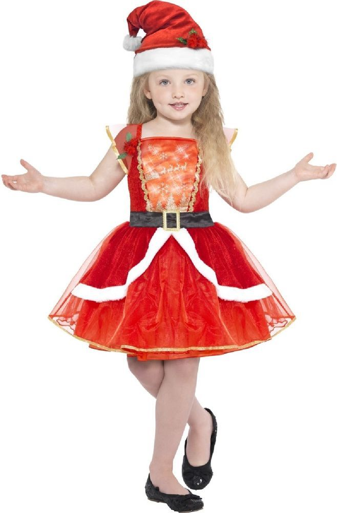 Girls Miss Santa Claus Costume Child Christmas Fancy Dress Outfit Kids Xmas