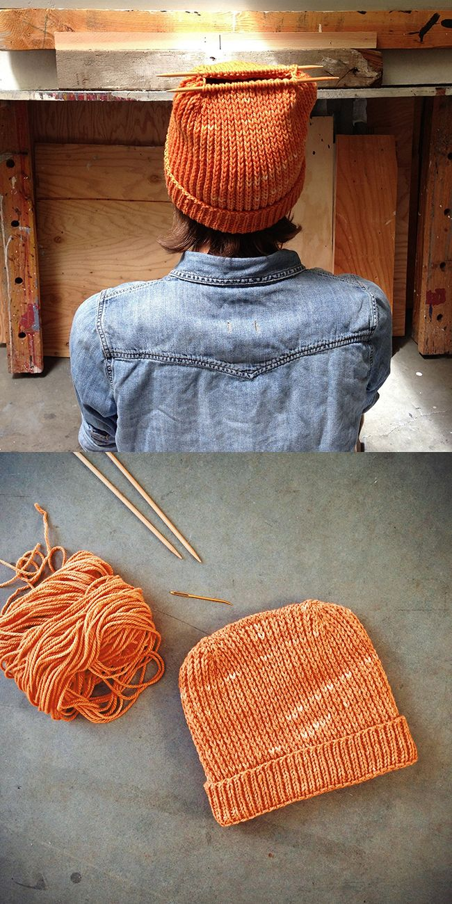 orange Heel Stitch hat - Purl Bee pattern