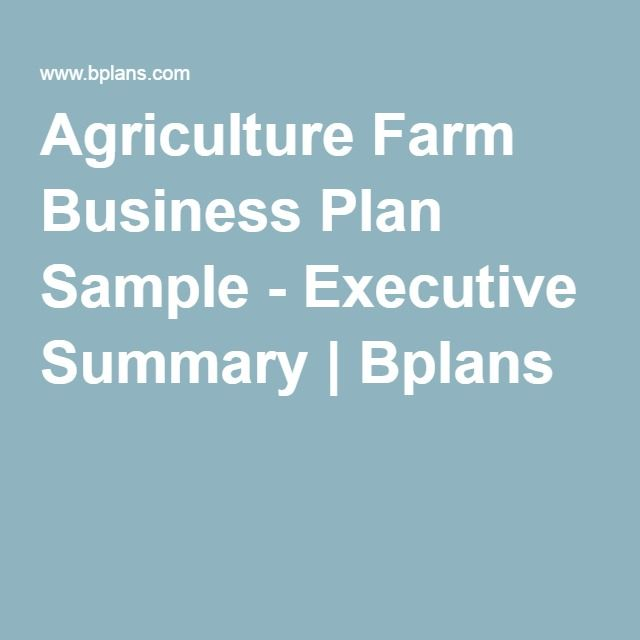 Sample of agricultural business plan