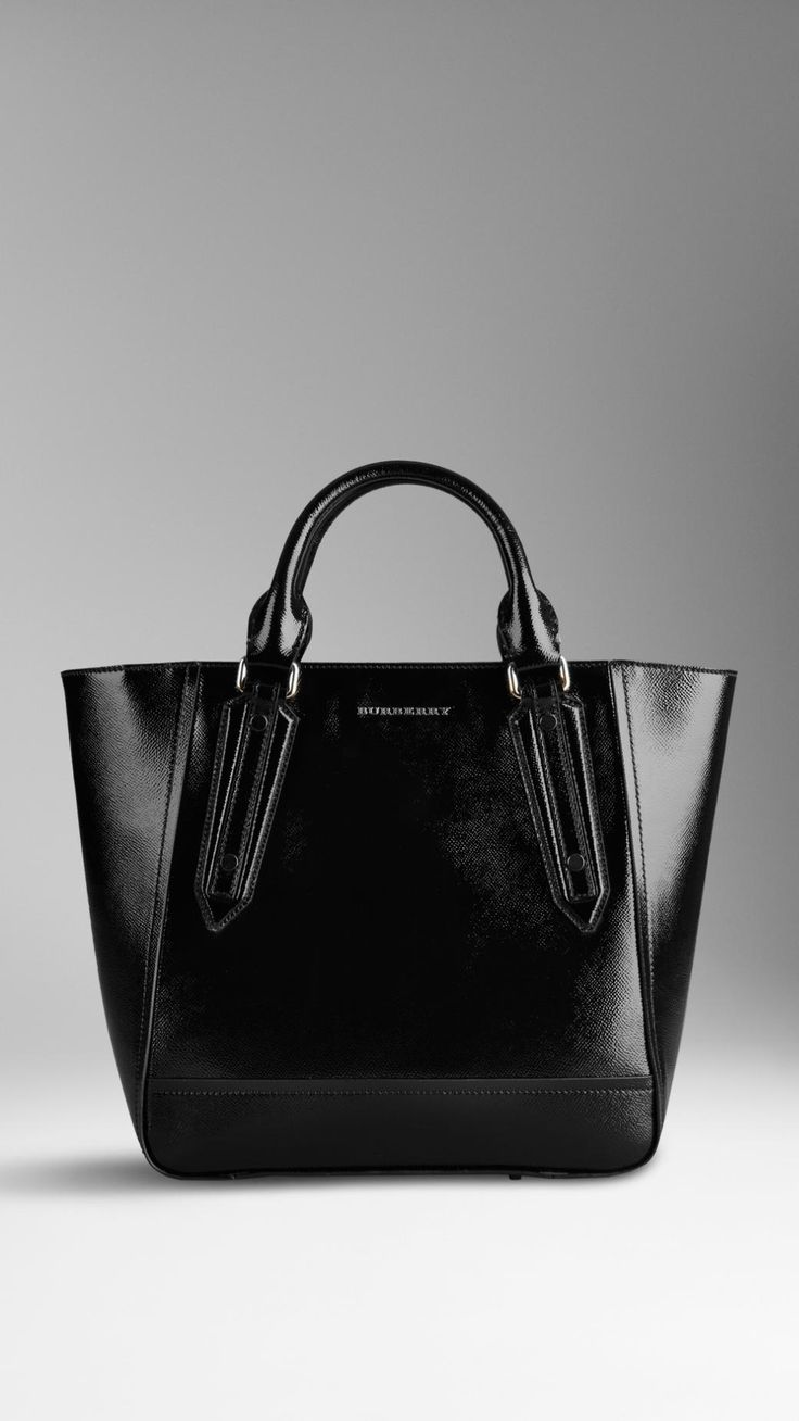 #Burberry Large Patent London Leather Portrait Tote Bag