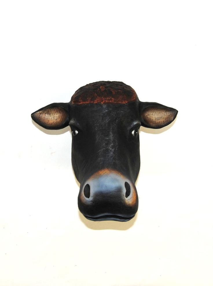 The Mache Cow | Cow Head | Faux Taxidermy | Paper Mache ...