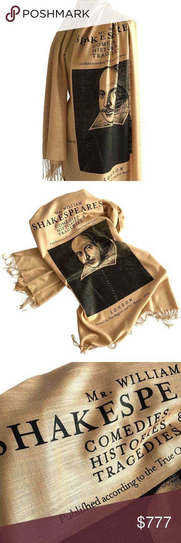 """Shakespeare Pashmina Scarf Show your smarts! Impress fans of literature, history, theater, library science and rare books all at once! 2016 is the 400th anniversary of Shakespeare's death, so we are celebrating our love for Mr. Shakespeare and all things literary through of course... scarves!   • Fabric: Viscose (modal linen) • Weight: Perfect for all seasons. • Printing ink: Non-toxic, waterbased ink.  Scarf size: 74"""" x 28"""" with 3"""" tassels on both ends.  These are absolutely gorgeous and…"""