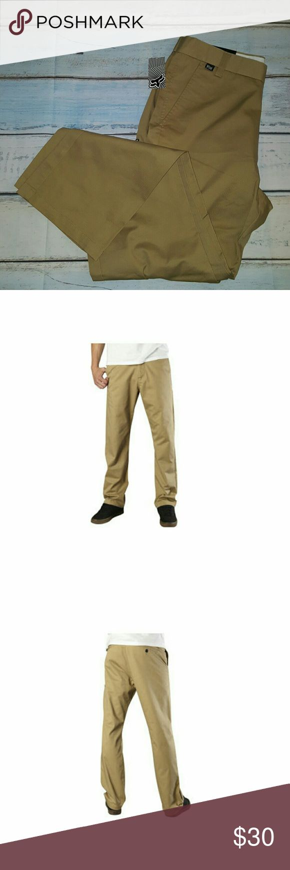 Fox Racing Essex Pants Dark Khaki 32x32 Fox Essex Pants Sport a Clean Look, a Tough-As-Nails Construction and Basic Colorways, Making Them the Perfect Go-To Pants for Your Everyday Needs. Features      Sits low on the waist with a relaxed fit through the top and thigh     Straight leg styling     Five pockets with logo button waist and zip fly     Fox head embroidery on back     60% polyester/40% twill Fox Pants