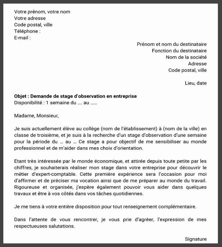 Demande De Stage Profissionnel Pdf Maroc Exemple 2020