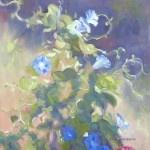 """Morning Tango"" Blue Morning glories tangling in the garden 8x10 Oil by Joni Finnegan $350."