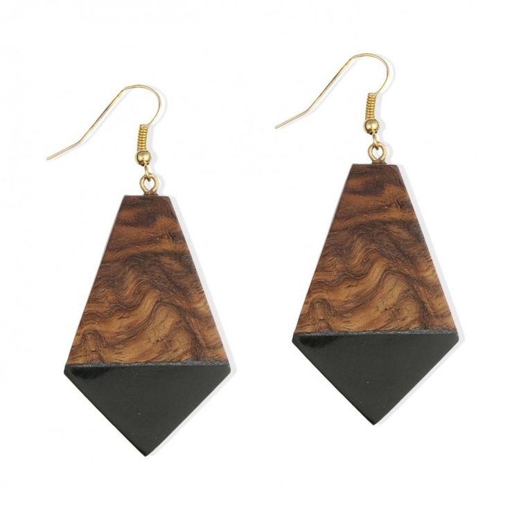 Boucles d'oreilles bois géométriques