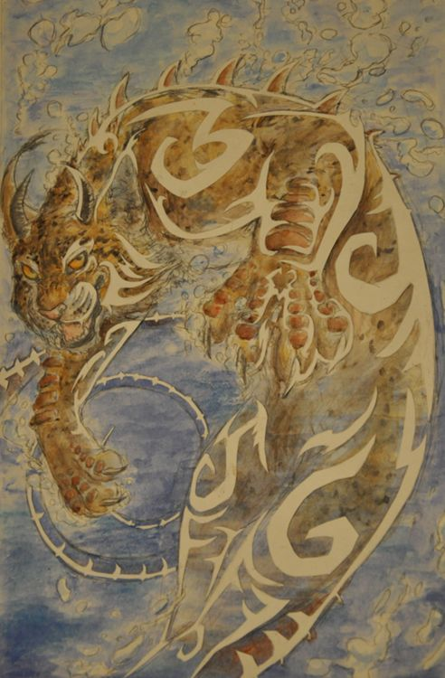 Mishipeshu - a creature of Native American mythology resembling felines sprouting a pair of horns, it is greatly feared and respected due to its ability to control lakes and rivers