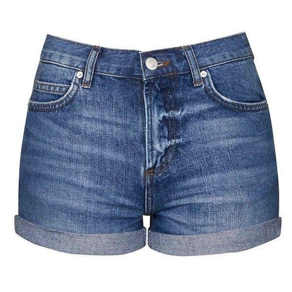 Women's Topshop Moto 'Rosa' Denim Shorts (915 MXN) ❤ liked on Polyvore featuring shorts, bottoms, short, pants, short shorts, mid rise denim shorts, jean shorts, short jean shorts and mid rise shorts