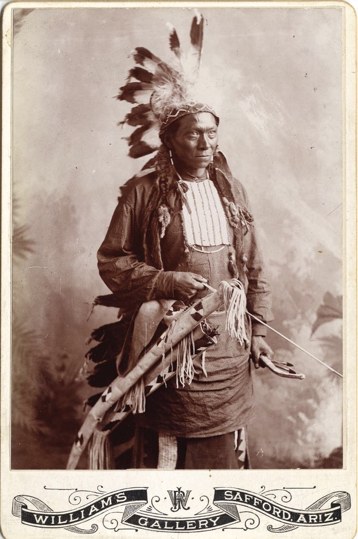 """JICARILLA APACHE MAN. c. 1885. Silver gelatin cabinet cards attributed to Dana Chase, but with the imprint of Williams Gallery, Safford, Ariz. Pencil inscription, verso: """"Apache Warrior."""" Heritage Auctions. 2007 Dallas, TX - American Indian Art Signature Auction"""