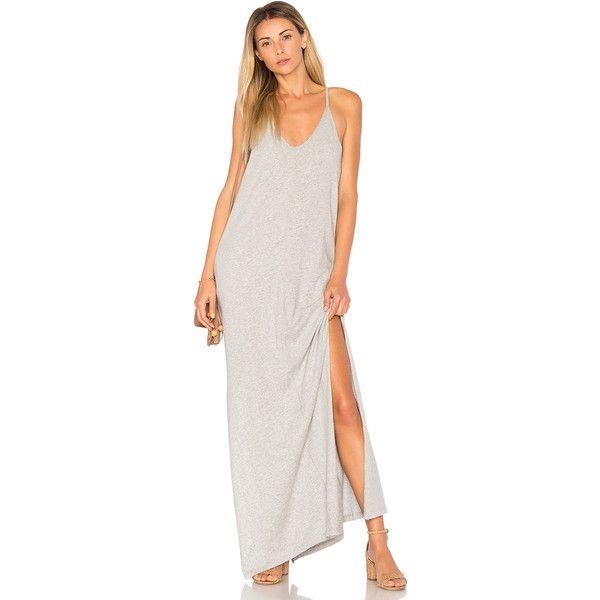 Bobi Supreme Jersey Maxi Dress (€63) ❤ liked on Polyvore featuring dresses, white day dress, white dress, jersey maxi dress, maxi dress and white slit dress