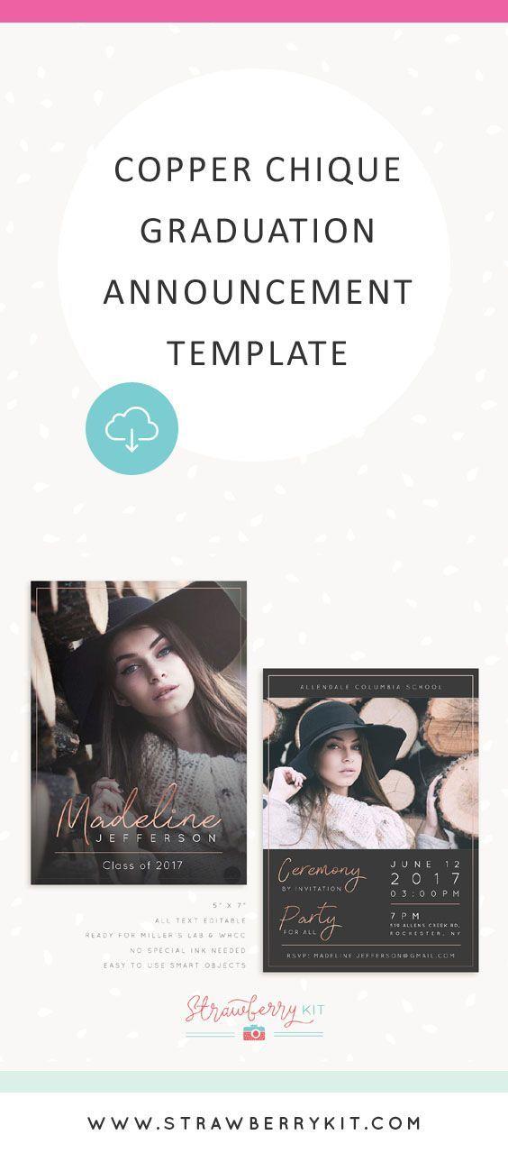 Copper Chique Graduation Announcement Template Photography