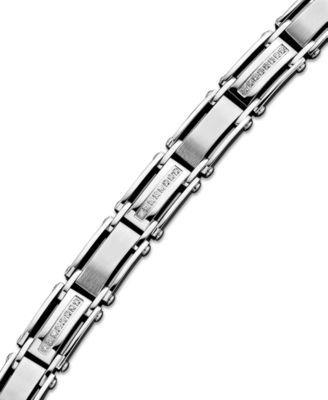 Men's Diamond Bracelet in Stainless Steel (1/2 ct. t.w.) | macys.com