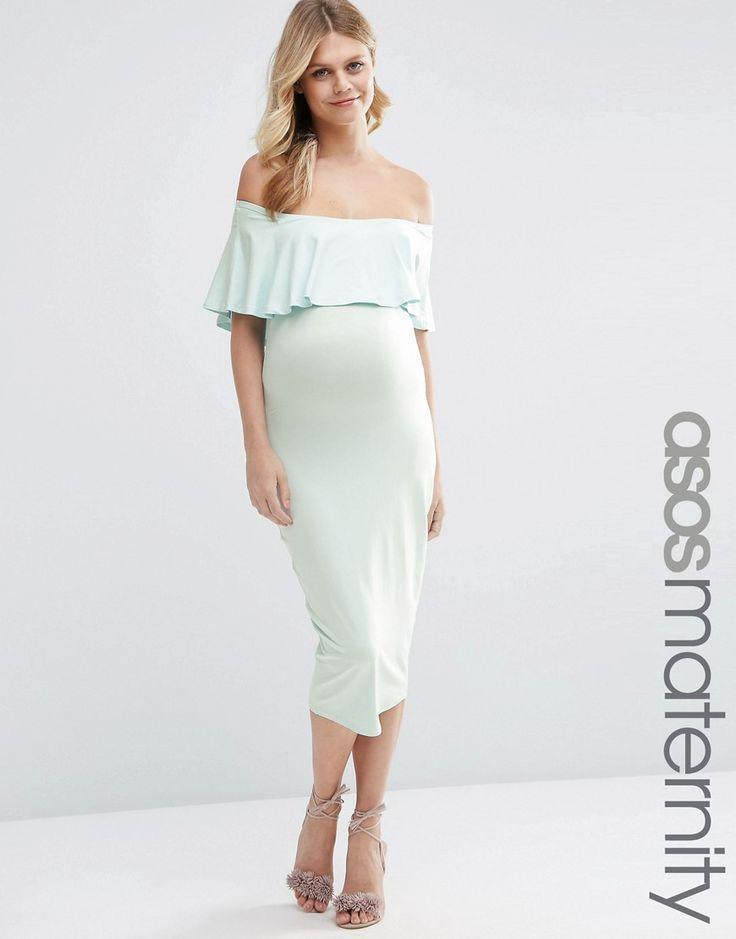 ASOS+Maternity+Midi+Bardot+Pencil+Dress+With+Ruffle
