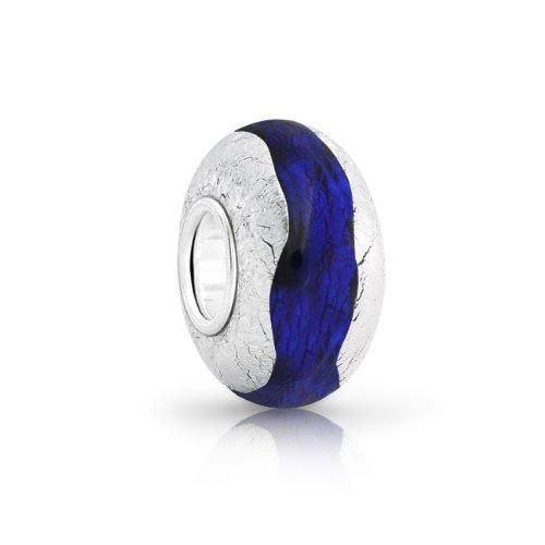 Bling Jewelry Sapphire Color Silver Foil Murano Glass Bead Pandora Compatible