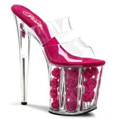 Hot Pink Fabric Floral Filled Platform with Clear Polymer Double Vamp