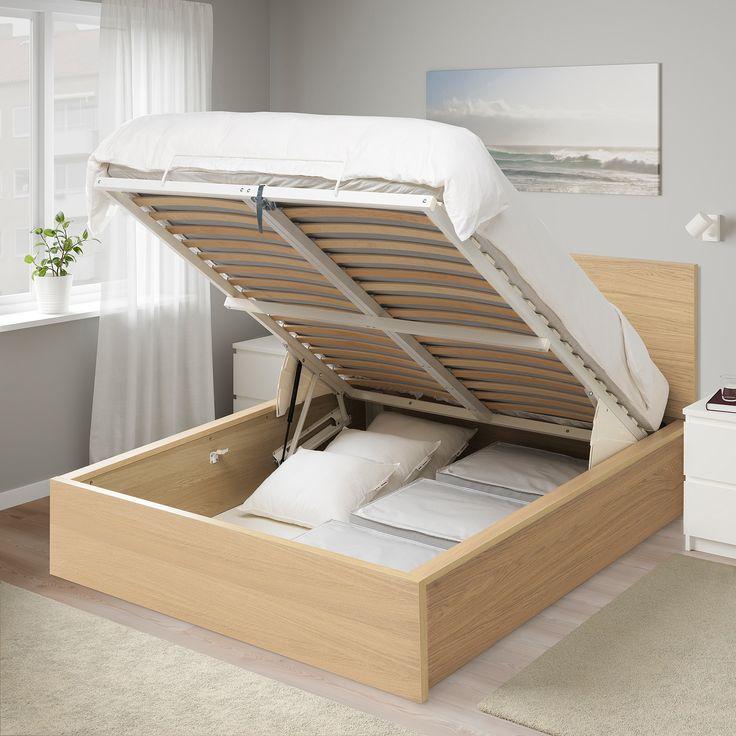 Cadre lit coffre, blanc, 160x200 cm MALM en 2020   Lit coffre, Cadre de lit et Rangement sous lit