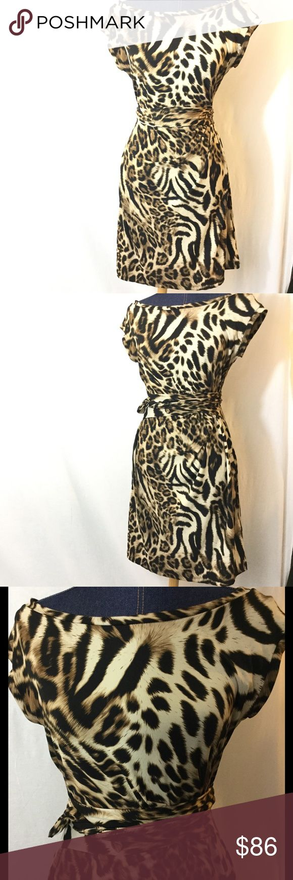 30%/2-MSK 10 Brown Animal Print Faux Wrap Dress Gorgeous and flattering MSK size 10 animal print mini/short dress.  Short sleeves.  Measurements in pics.  Poly/4% Spandex. Love this!  Barely worn before, sadly, outgrown.  It was so slimming I wish it still fit! MSK Dresses Mini