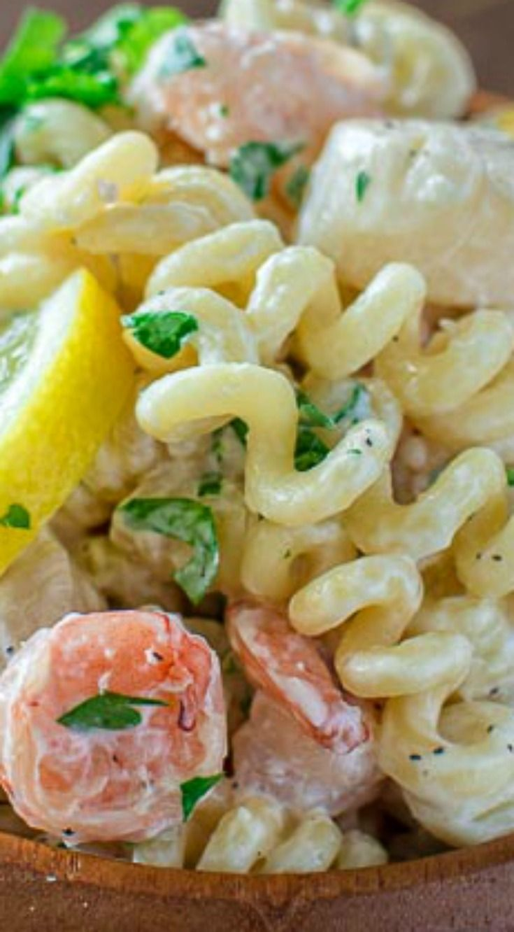 Creamy Seafood Pasta ~ So easy to make and it makes a comforting and filling dinner... You can have it ready in just 30 minutes!