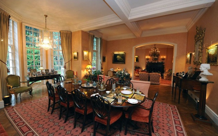 The dining room. The house, which is thought be worth more than £60 million, was once the home of the Victorian artist Sir Luke Fildes. Winner bought it from his parents, who acquired it at a cheap price after the war because of its bomb damage.
