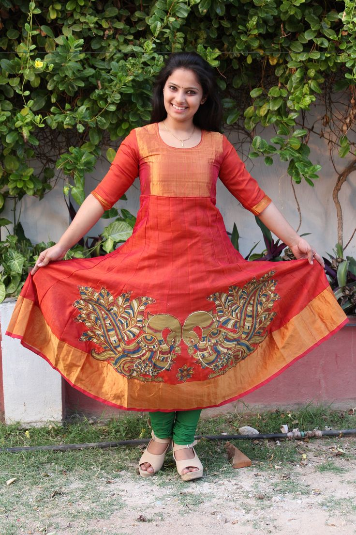 """Steal the all season look by adorning this """" Sico cotton anarkali"""" top enhanced with Pen kalamkari touch. Code: Price:5975/- ( bulk buyers / wholesale / boutiques / Retail shops for trade inquiries please contact our whatsapp no 8801302000)"""