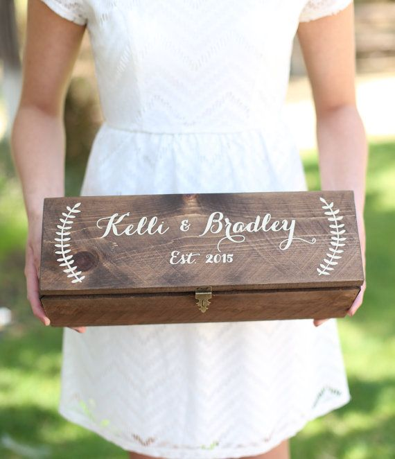Personalized Wine Box Custom Keepsake Time Capsule by braggingbags