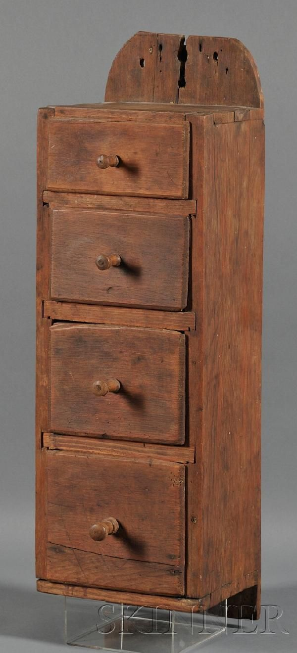 Four drawer Pine Hanging Box America early 19th