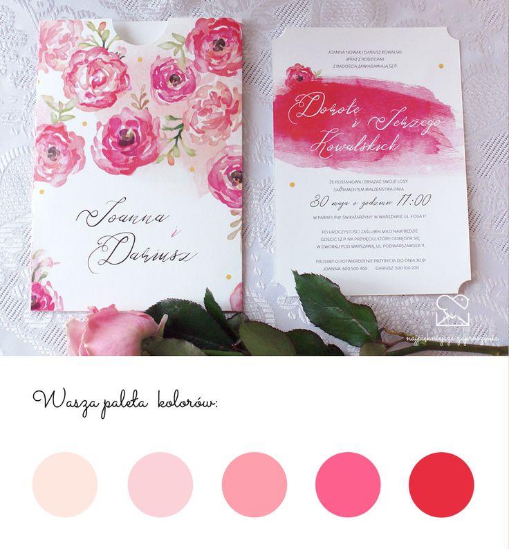 Motyw róży - papeteria ślubna zaproszenia ślubne // Pink roses wedding stationery theme, red flowers elegant wedding invitations, color palette http://najpiekniejsze-zaproszenia.pl/motyw-rozy/