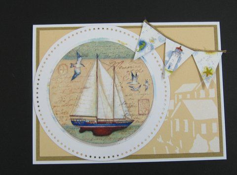 Handmade card. Lighthouse stencil, rice papers. Available at imaginationcrafts.co.uk