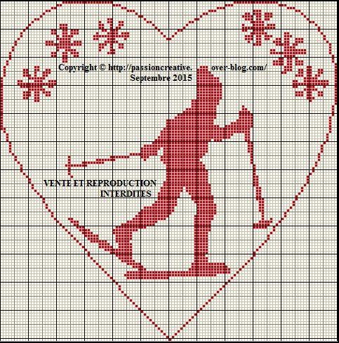 Grille gratuite point de croix skieur et coeur le blog de isabelle cross stitch all - Grille point de croix pinterest ...