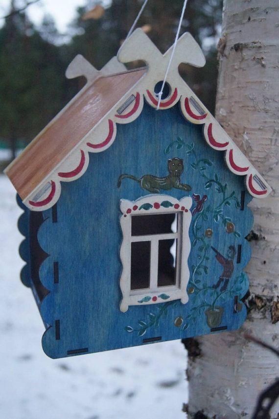 Mangeoire à oiseaux en bois art primitif maison de campagne
