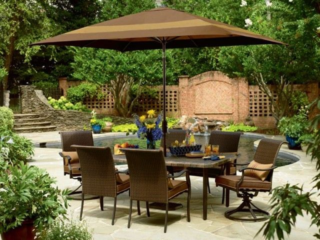 Modern Patio Furniture Sets With Umbrella And Small Pool