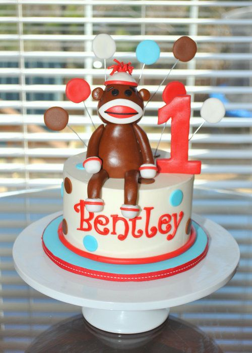 Sock Monkey Smash Cake -