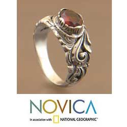 Garnet ring Sterling silver jewelry