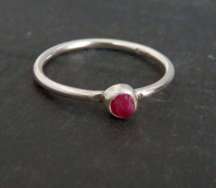 Custom raw ruby ring / rough ruby ring / July birthstone / engagement ring / natural ruby ring / untreated ruby / uncut ruby / ruby jewelry by EmmyBean on Etsy