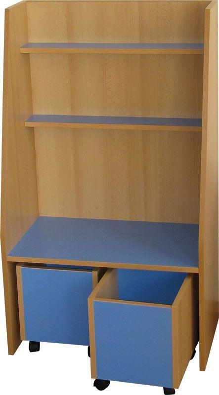 BABAR óvodai könyvespolc, 2db görgős konténerrel, Magasság 180cm Szélesség 90cm Mélység 35cm, Óvodai bútor webáruház. Teljes óvodai berendezés gyártás, szállítás és beépítés