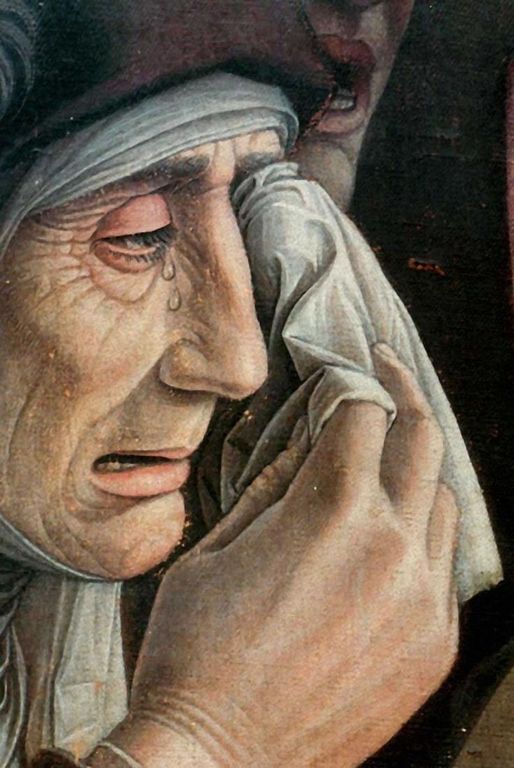Andrea Mantegna, dettaglio delle lacrime, dal dipinto del cristo morto