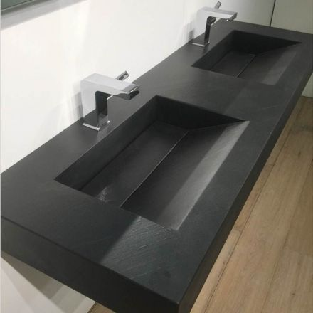 Pierre pizarra, Plan double vasque salle de bain suspendu 141×46 cm
