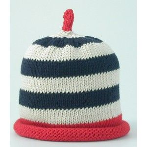 Navy, cream and red stripe knitted hat