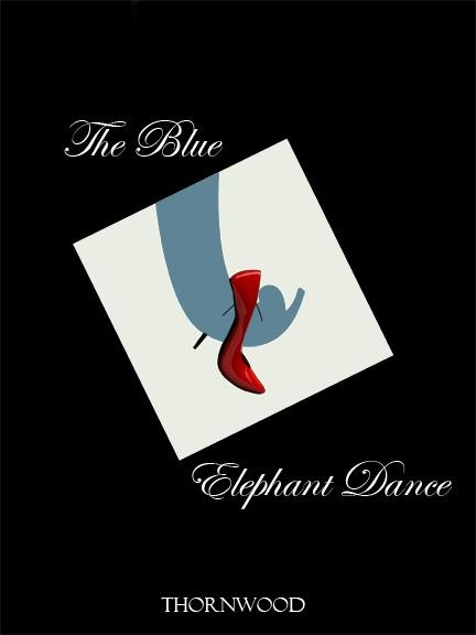 """Book cover option 3 for """"The Blue Elephant Dance."""" A combination of Harlequin novel and comic book."""
