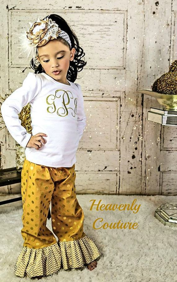 Girls Boutique Outfit  Gold monogrammed outfit  by HeavnlyCouture, $55.00