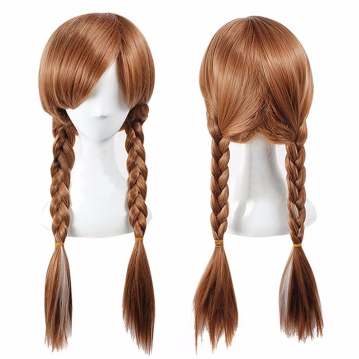 FR0ZEN Long Braided 70CM Synthetic Wig Heat Resistant Brown Ponytail Weave Head Hair Women Wigs Adult Princess Anna Cosplay