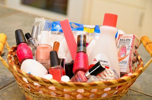 Bridal Shower - Door Prize idea: Nail Care Basket (nail polishes, nail ...