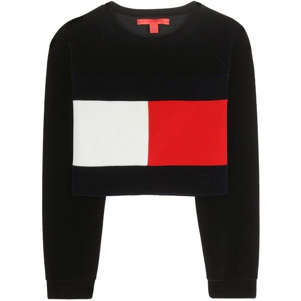 Tommy Hilfiger mytheresa.com Exclusive Flag Cropped Sweatshirt ($245) ❤ liked on Polyvore featuring tops, hoodies, sweatshirts, sweaters, crop top, shirts, jumper, black, tommy hilfiger tops and crop shirts