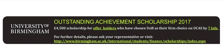 University of #Birmingham Outstanding Achievement #Scholarships 2017.. Check out the details about the scholarship: http://www.birmingham.ac.uk/undergraduate/funding/University-of-Birmingham-India-Outstanding-Achievement-Scholarships.aspx