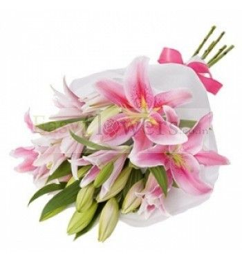 Exotic Bouquet of 6 Stem Pink Exotic Lily. #EasyFlowersMumbai