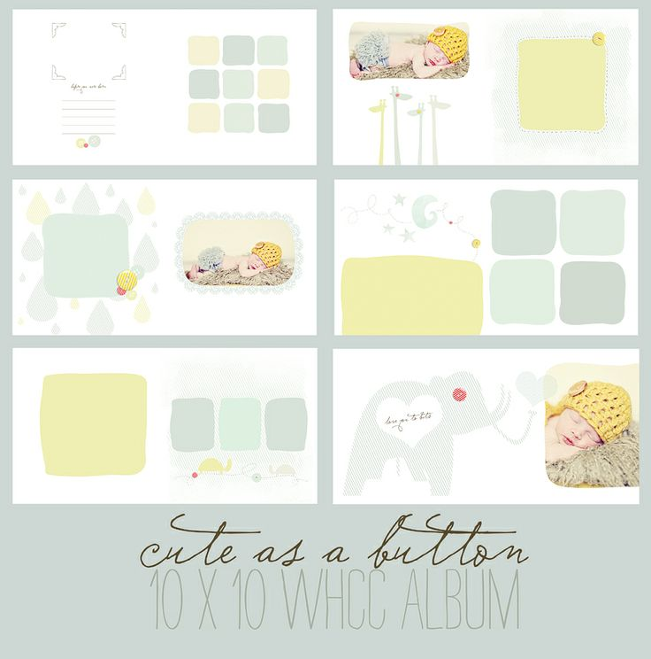 Cute as a button 10x10 Whcc flushmount album template