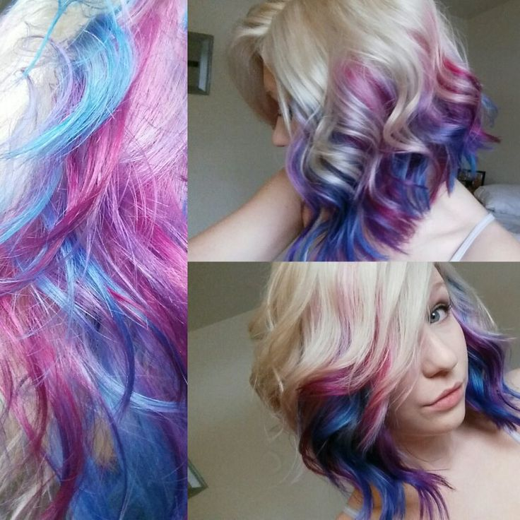 Blonde Hair With Galaxy Colors Done By Me Cute Hair